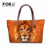 FORUDESIGNS Lion Tote Bag Baobao Women S Handbag Bulldog Owl Printed Shoulder Bags For Women Handbags