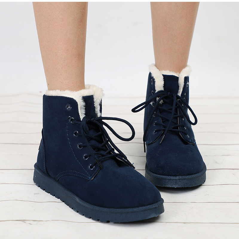 Snow Boots Winter Warm Flat Ankle Boots Lace Up Shoes