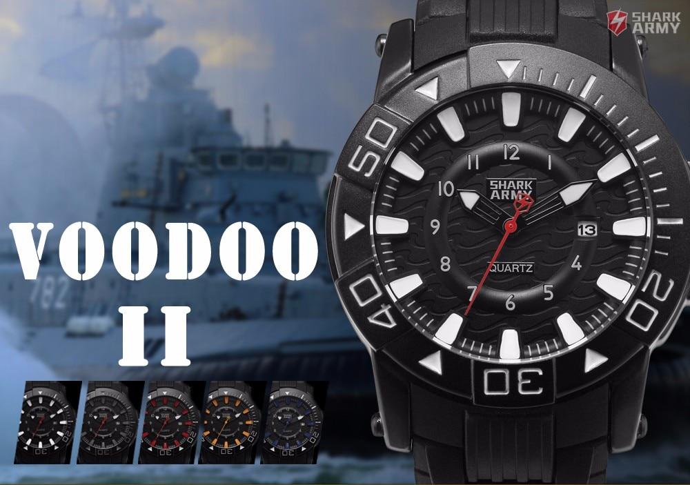 ฉลามกองทัพวูดูครั้งที่สองชุดสีดำสีขาวผู้ชายกีฬา12Hrsแสดงวันที่กันน้ำยางรัดควอตซ์ทหารนาฬิ... 1