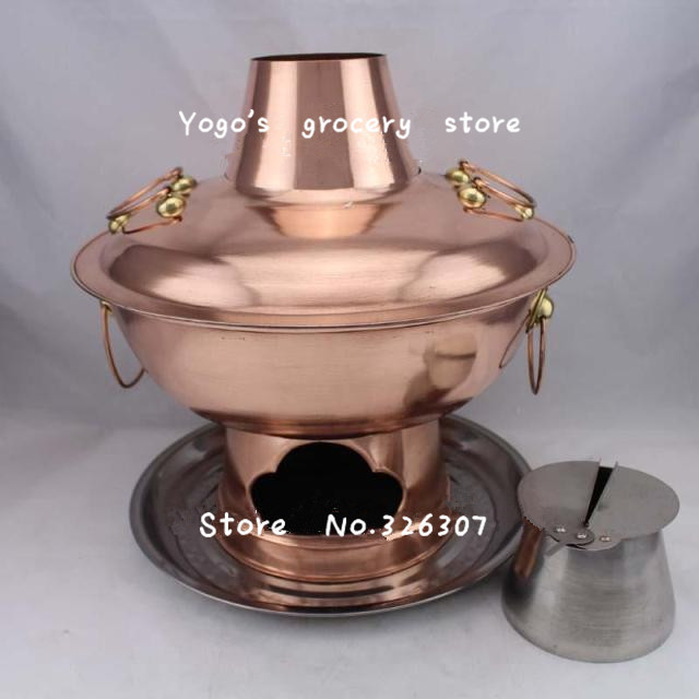 38cm China copper hot pot thickened Mongolian Chinese Beijing handmade charcoal fondue pot fire tube stainless steel plate set38cm China copper hot pot thickened Mongolian Chinese Beijing handmade charcoal fondue pot fire tube stainless steel plate set