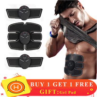 EMS Trainer Wireless Muscle ABS Stimulator Smart Fitness Abdominal Training Device Electric Body Massager Weight Loss Stickers Message & Relaxation