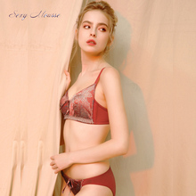 sexy mousse luxurious satin bra and panties sets  retro style young women lingerie push up new arrival comfortable