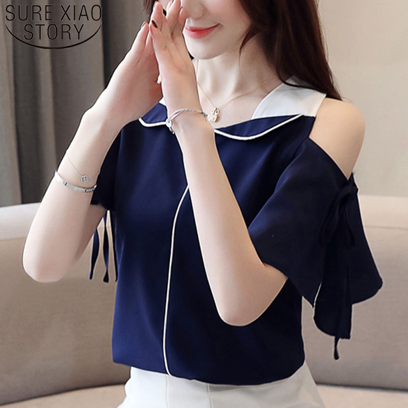 Womens tops and   blouses   2019 off shoulder top   shirts   chiffon   blouse   Solid V-Neck Flare Sleeve white   blouse     shirts   3630 50