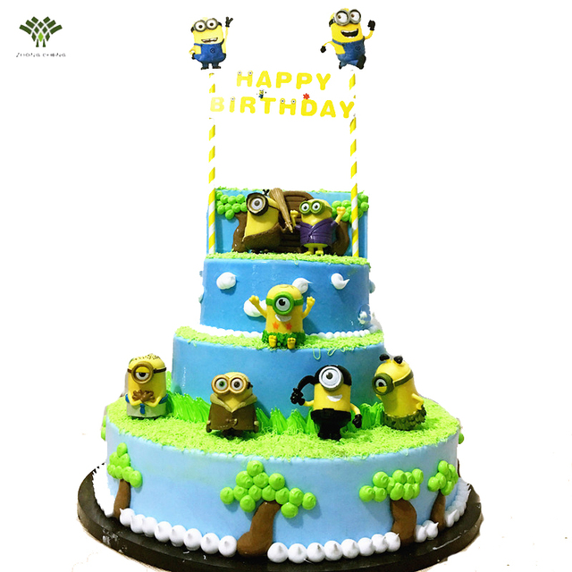 8pcs Minions Birthday Cake Topper Gifts Toys For Children Birthday