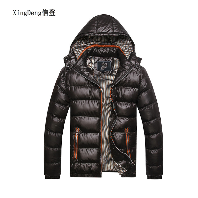 XingDeng Winter Fashion Warm Jackets Men Hat Detachable Top Coat Cotton Outwear Coats Hooded Collar Slim Clothes Thick Parkas