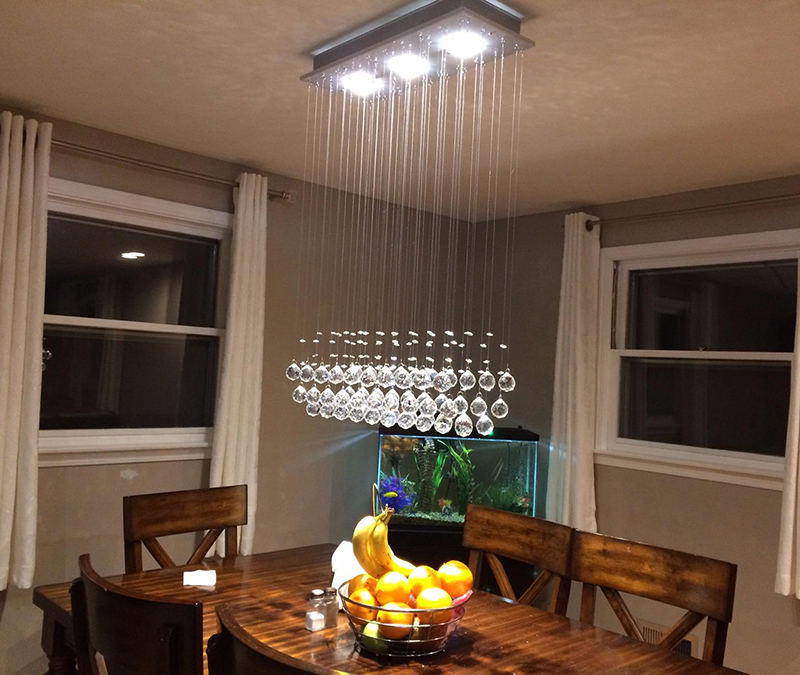 Top K9 Crystal Raindrop Chandelier LED Flush Mount Pendant Lamp Island Light over Table Lighting Fixture for Dining Room