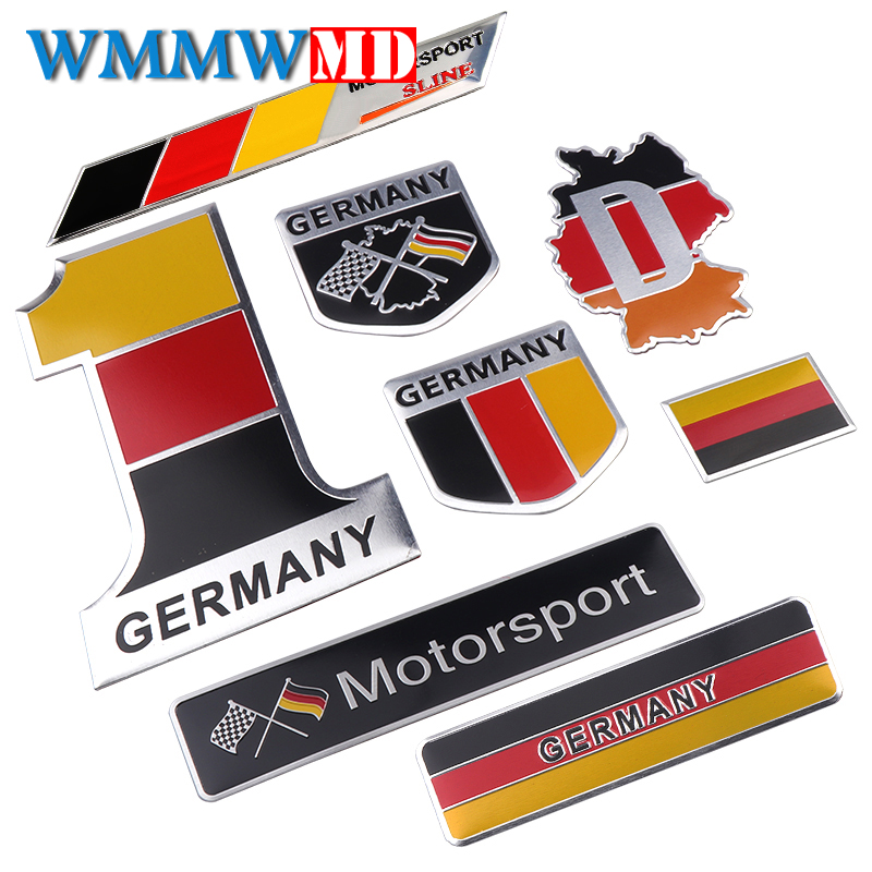 3D Aluminum Germany Sticker Germany Flag Emblem Decal For Audi BMW Perodua Toyota Honda Nissan Ford Mazda Mercedes Car Styling