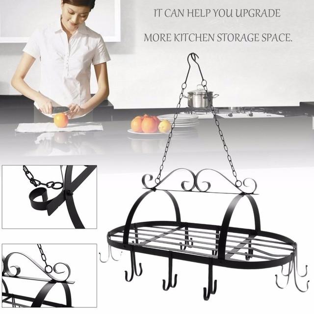 Portable Hanging Iron Pot Rack With 10 Hooks Cookware Organizer Kitchen  Storage Pan Hanger Storage Rack