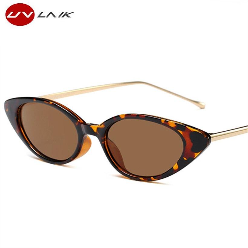 UVLAIK de ojo de gato gafas de sol mujer marca diseñador de Metal piernas pequeño Cateye Oval, gafas de sol para mujeres regalo tonos UV400