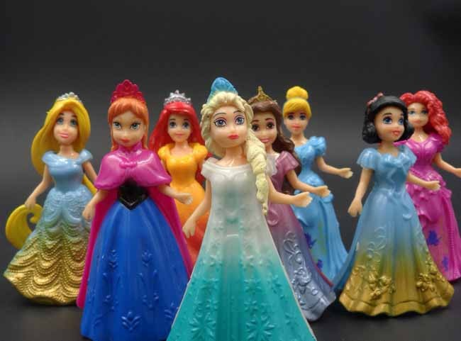 10 CM 8 unids/lote PVC Elsa Anna Princesa Cenicienta Figura de Acción conjunto v