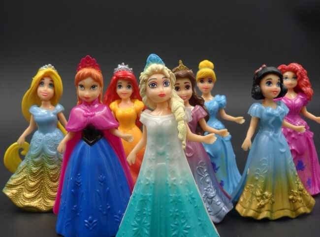 10CM 8pcs/<font><b>lot</b></font> <font><b>PVC</b></font> <font><b>Princess</b></font> <font><b>Cinderella</b></font> <font><b>Elsa</b></font> <font><b>Anna</b></font> <font><b>Action</b></font> Figure set doll dress can change Classic Toys kids toys for girl