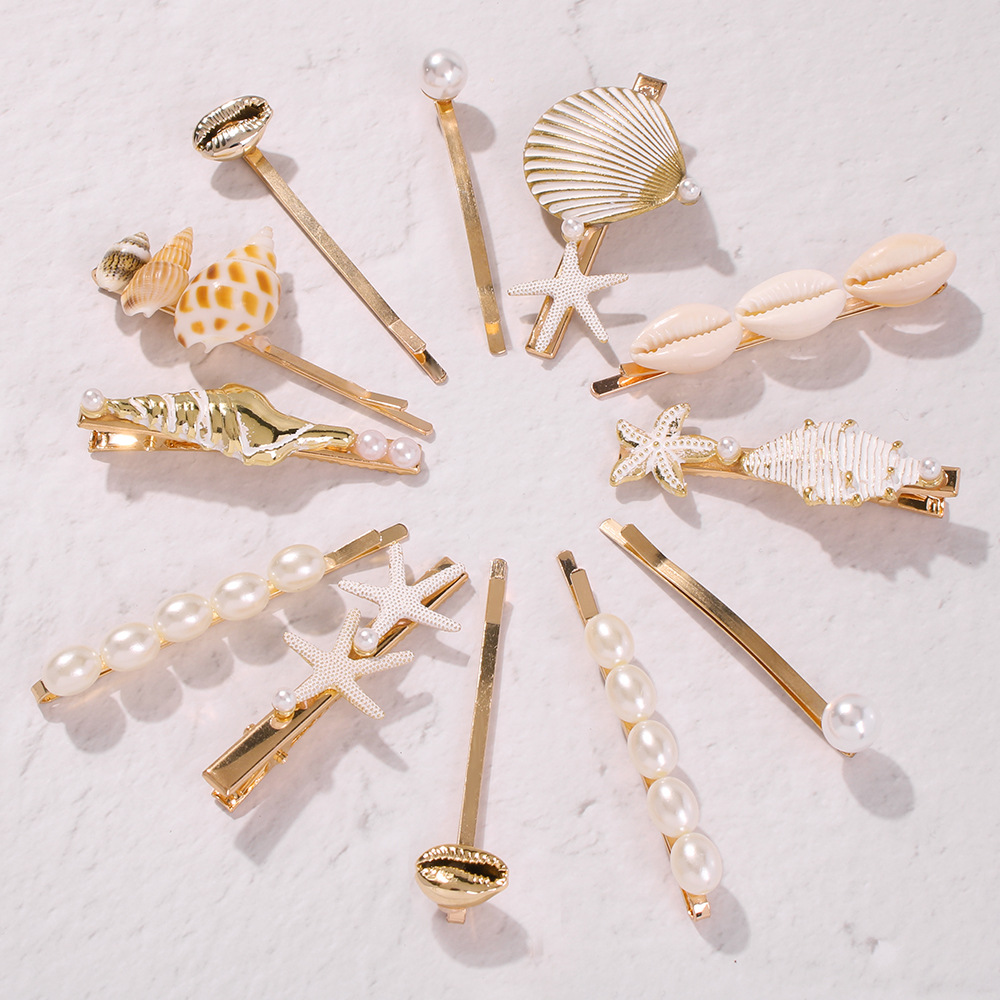 Hair-Clips Starfish-Accessory Shells Barrettes Pearl Vintage for Woman 90s Summer 3pcs/Set