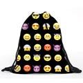 Mulheres saco de cordão mochila 3D Digital impresso Emoji amarelo portátil estudantes mochila