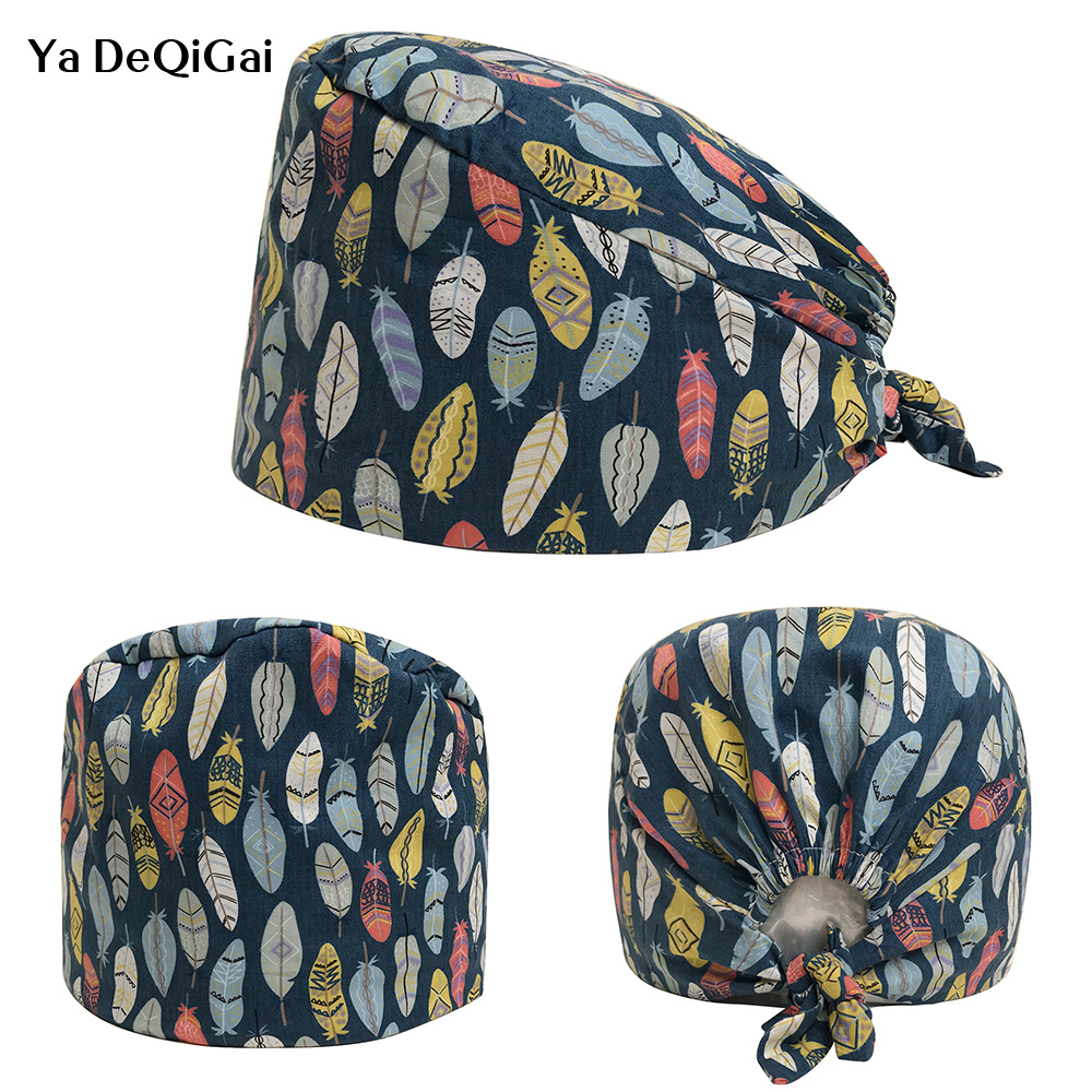 New Feather Print Designer Surgical Caps Medical Operation Theater Cap Pattern Elastic Surgeon Hat 100% Cotton Nurse Medical Hat