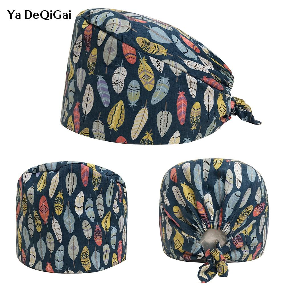 New Feather Print Designer Surgical Caps Medical Operation Theater Cap Pattern Elastic Surgeon Hat 100% Cotton Nurse Medical Hat