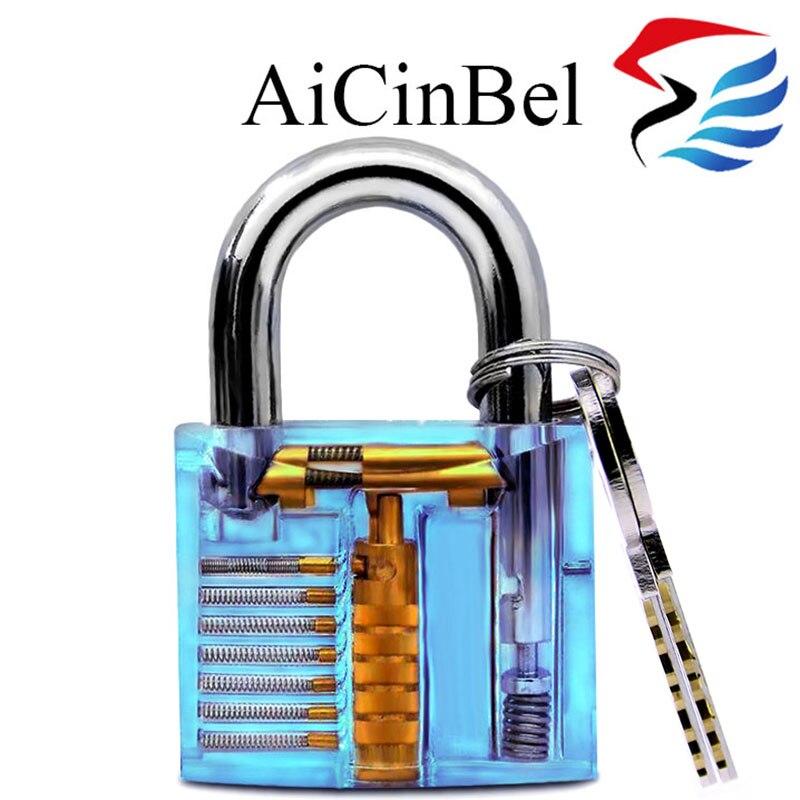 AiCinBel Smart Key Opener Practice Transparent Lock Training Skill View Inside Section View View Padlock Locksmith hakkadeal broken key removal practice padlock set