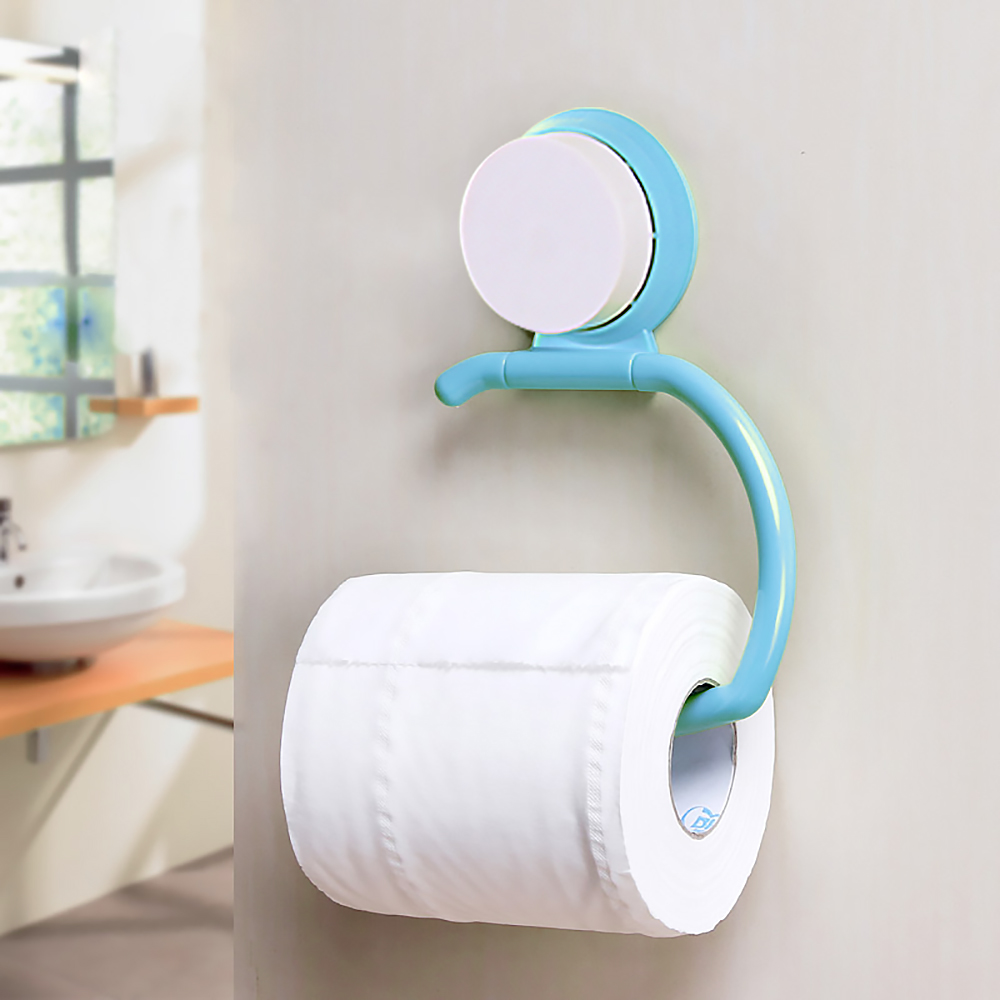 Plastic toilet paper holder wall suction hanger tissue for Bathroom accessories toilet roll holder