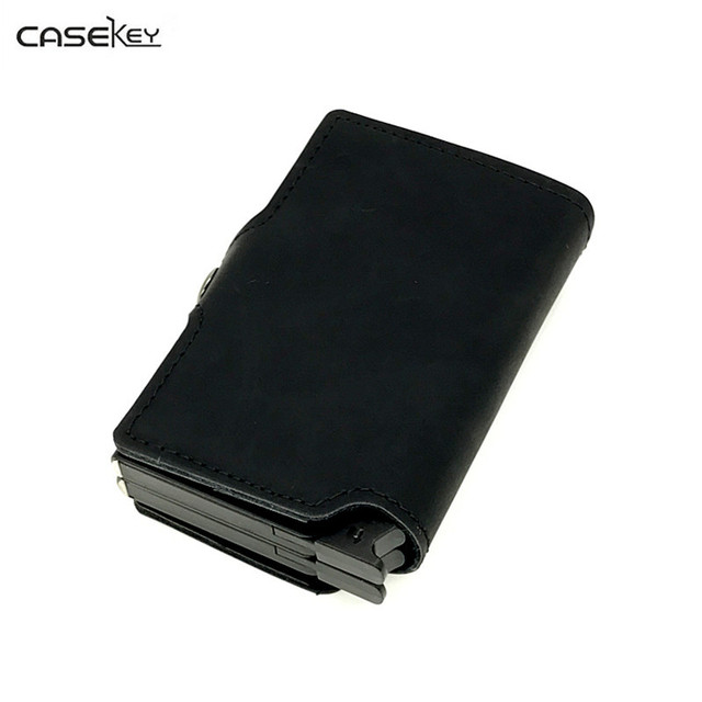 new product 079ef 69253 US $28.79 46% OFF|CaseKey Anti theft Metal Men's Credit Card Holder  Aluminium RFID Blocking Wallet Men Mini Wallet Double Box Credit Card  Holder-in ...