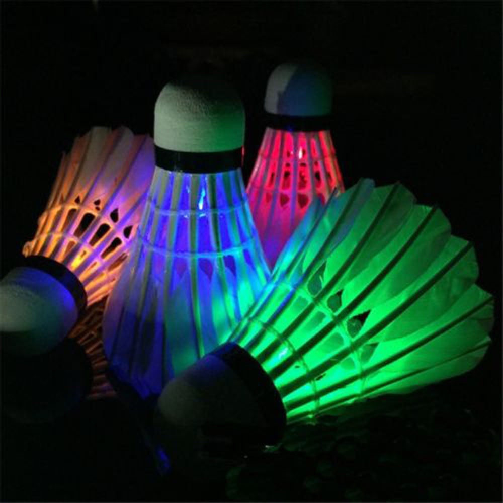4x LED Badminton Set Shuttlecock RGB Night Glow Indoor Outdoor Sports Button Cheap Luminous New Colourful Dropship#0419