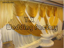 Whole Set White Color Backdrop Curtain With Gold Drape for wedding banquet Anniversary party 10ft*20ft