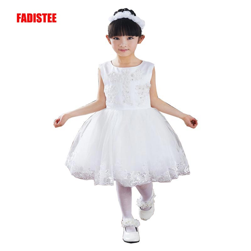 FADISTEE New Arrival Pretty   Flower     Girl     Dresses   appliques Baby   Girl     Dress   lace sweet style   dresses   2019