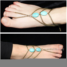 New Arrived 2 types ankle bracelet and Bracelet Bangle Slave Chain Link Finger Hand Harness Turquoise Anklets Chain