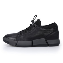 Fashion New Black Casual Genuine Leather Breathable Sneaker Men's Height Increasing Elevator Sport Shoes Get Taller 6cm