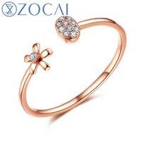 ZOCAI Brand Princess Natural 0.05 CT Diamond Ring with Real 18K Rose Gold (Au750) JBW00499