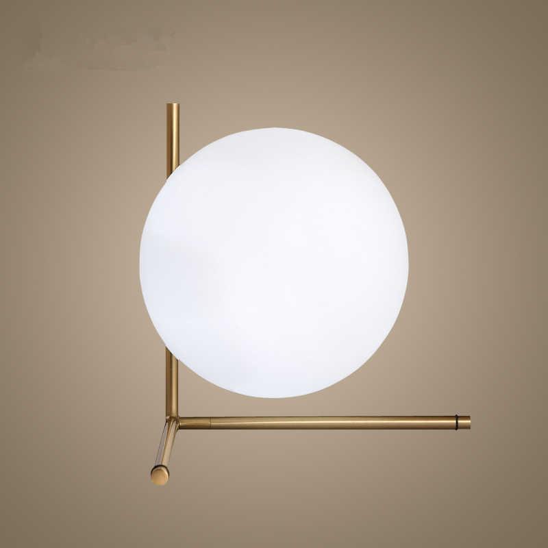Nordic Книги по искусству Дизайн D20cm белый Стекло мяч настольная лампа золото Утюг Прикроватные Тумбочки, настольные лампы для Спальня светодиодный настольная лампа Lamparas de Mesa Лидер продаж