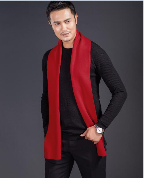 High Quality Men's Plain Red Color Long Scarf  Winter Knitting Thick Scarf For Man