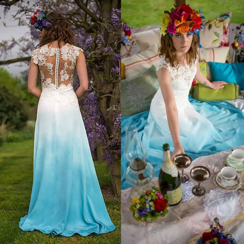 Colorful Blue Beach Wedding Dresses 2019 Sleeves Chiffon Lace Wedding Dresses Sheer Backless Boho Vestido De Noiva Cheap Sale