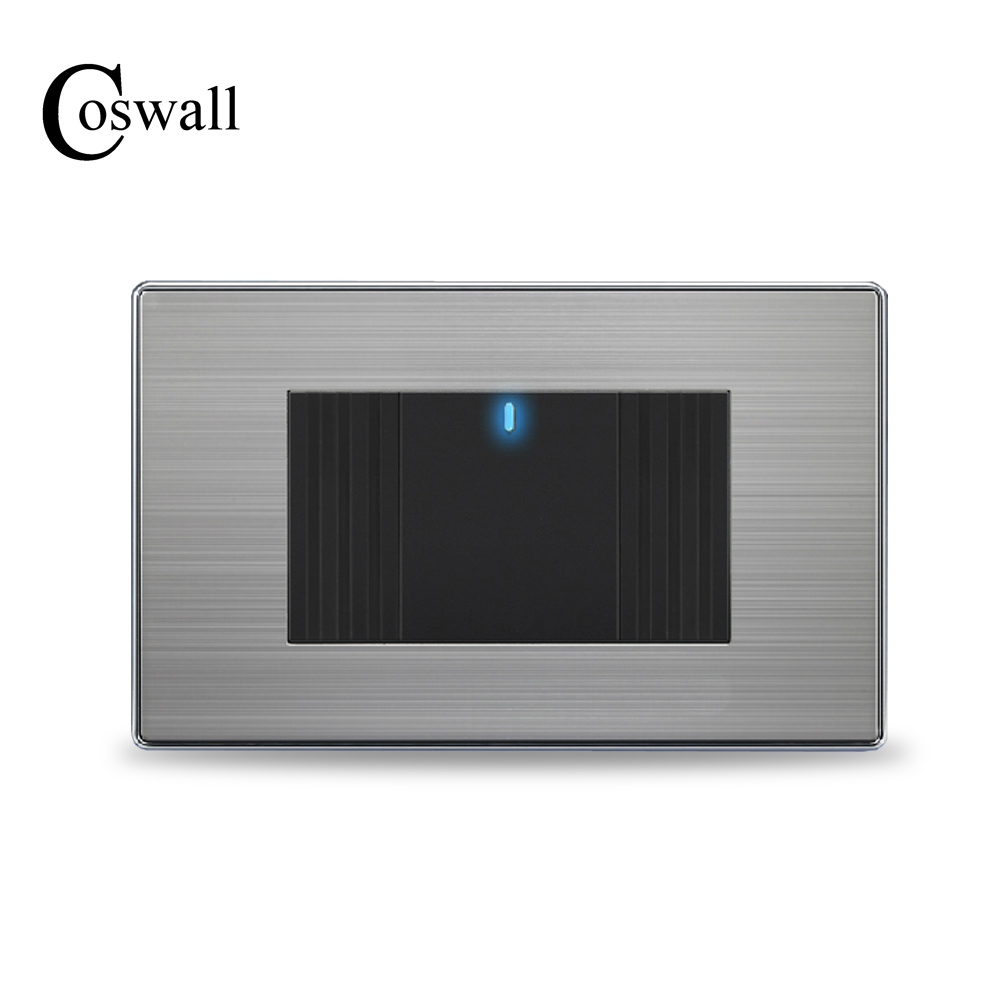 Coswall Us Standard 1 Gang 2 Way Light Switch With Led Indicator On    Off Wall Switch Stainless