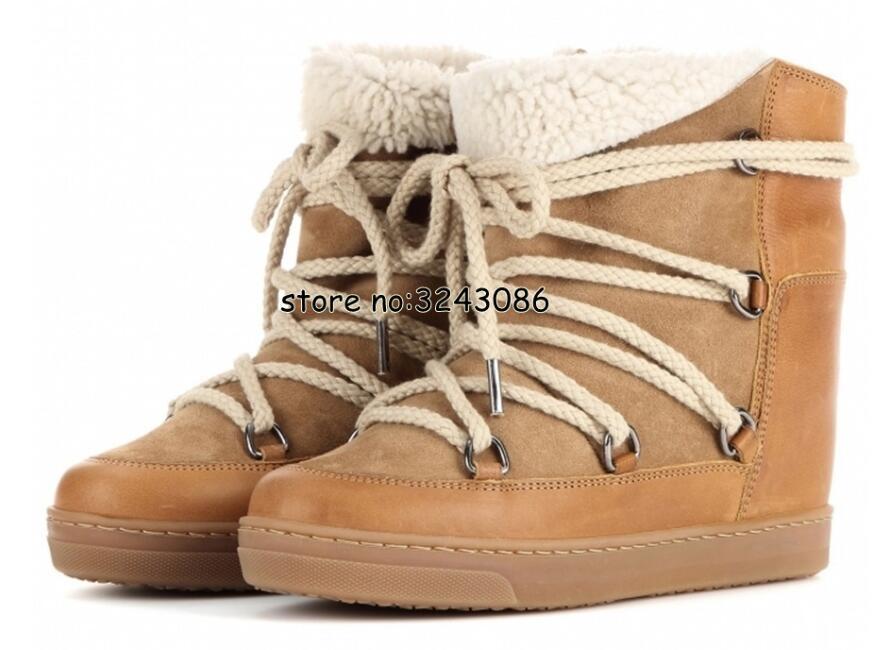 Hiver chaud fourrure peau de mouton doublé cuir bottes compensées cheville neige bottes deux lacets talon 8cm femmes chaussures chaussures décontractées livraison directe - 2