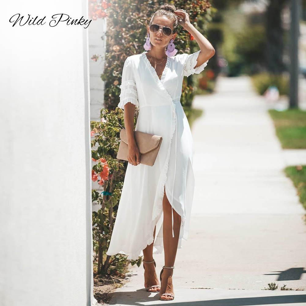 WildPinky Senhoras Verão Vestido Longo Preto e Branco Vestido de Praia Maxi Vestido de Festa Vestido de Verão Vestido Ocasional Das Mulheres Vestidos De Festa