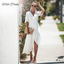 WildPinky Summer Ladies Long Dress Black White Beach Maxi Women Casual Party Sundress Vestidos De Festa