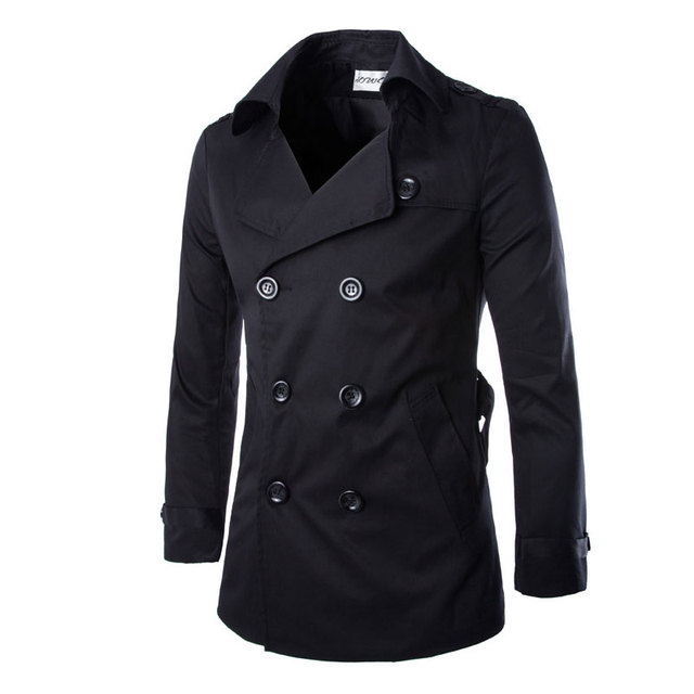2016 New Fashion Men Solid Slim Trench Coat England Style Long Jacket Overcoat Double Breasted with Sashes Party Wear M-XXL