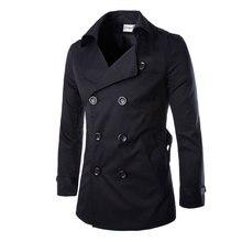 2016 neue Mode Männer Feste Dünne Trenchcoat England Stil Lange Jacke Mantel Zweireiher mit Schärpen Party Tragen M-XXL