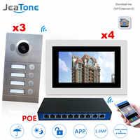 WIFI IP Video Door Phone Intercom System Video Doorbell 7'' Touch Screen for 3 doors 4 Floor Apartment/8 Zone Alarm w/POE Switch