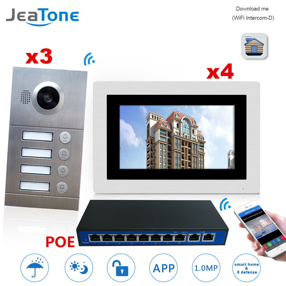 WIFI IP Video Door Phone Intercom System Video Doorbell 7'' Touch Screen For 3 Doors 4 Floor Apartment/8 Zone Alarm W/POE Switch