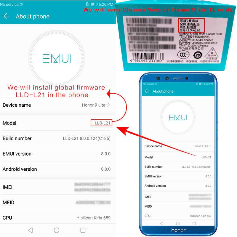 Huawei honor 9 lite Global ROM 5 65''Octa Core Android 8 0 Smartphone Kirin  659 Fingerprint 4 Cameras 2160*1080 OTA
