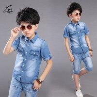 Одежда для мальчиков Обувь для мальчиков летний комплект 2 шт. ковбойская рубашка + Шорты для женщин подросток Обувь для мальчиков повседнев...