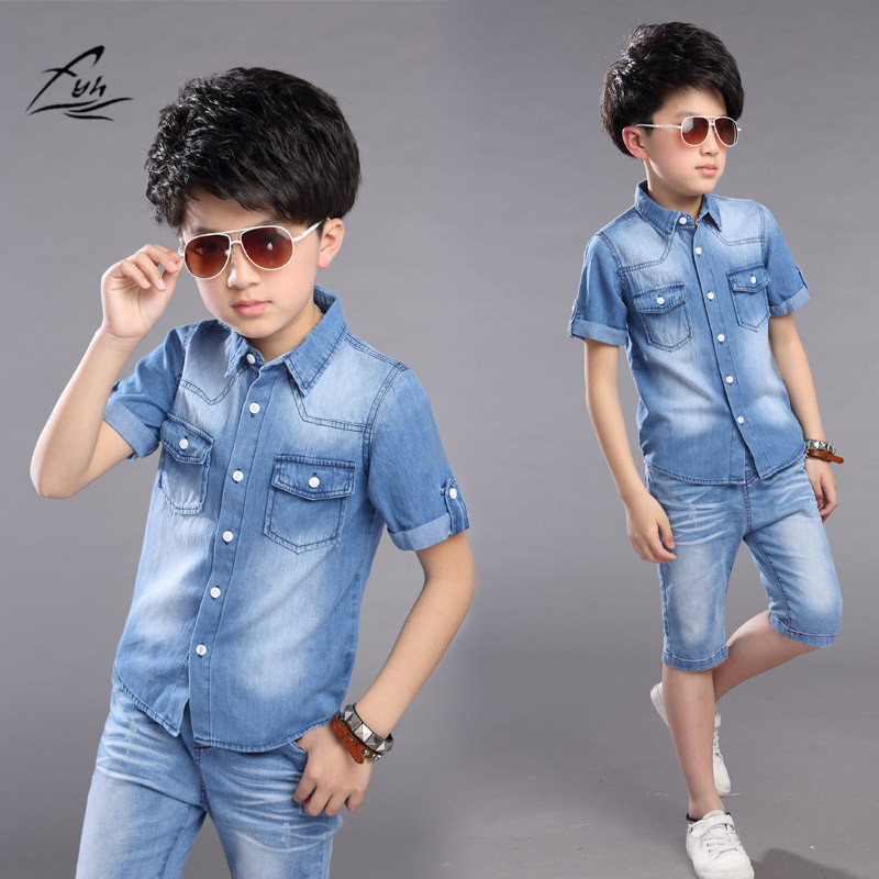 Boys Clothes Boys Summer Set 2pcs Cowboy Shirt +Shorts Teenager Boys Casual Set Short Sleeve shirt Short Pants Boys Cotton Suits ujar brand dot patchwork short sleeve shirt boys shorts set childrens summer sets u52a705
