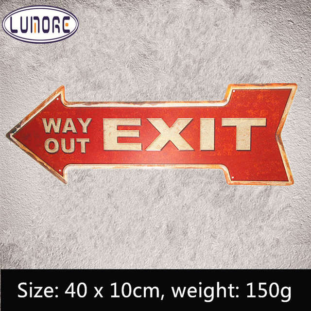 exit way out metal arrow sign vintage tin signs advertising board