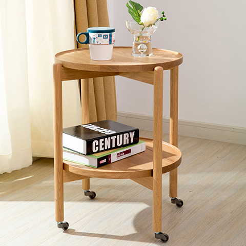 Nordic Creative Round Table Side A Few Small Coffee With Wheels Double Storage Ikea Modern