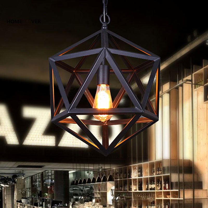 Iron Black Loft Vintage pendant light E27 Edison Bulb Dia*35cm For Dining Room Bar Coffee Shop Decoration Pendant lamp Fixtures loft edison vintage retro cystal glass black iron light ceiling lamp cafe dining bar hotel club coffe shop store restaurant