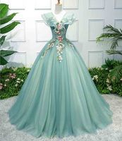 Plus Size 6XL Green V neck Luxury Wedding Bridal Party Dress Women Evening Formal Dress Ball Gown For Lady Large Size 5XL 4XL