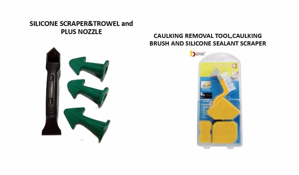 Caulking Tool Kit Sealant Scraper Sealant Trowel Caulking Tool Kit (4 Pieces) With One Brush Stainless Steel Removal Tool