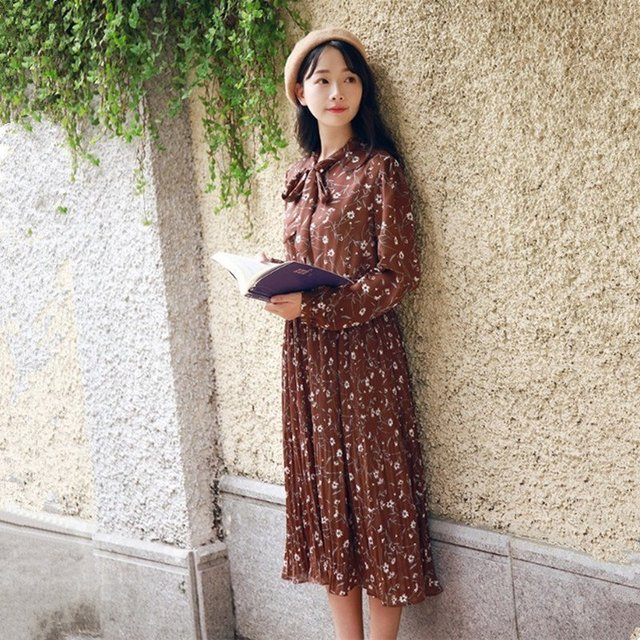 The Winter With Velvet Floral Pleated Chiffon Dress Korean