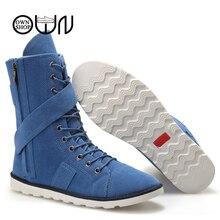 Hommes Boot Chaussures Kaki Noir Bleu Mode Cool Bottes D'hiver Toile Zip Adulte Mâle Appartements Mi-mollet Semelle En Caoutchouc Chaud Hommes D'hiver chaussures