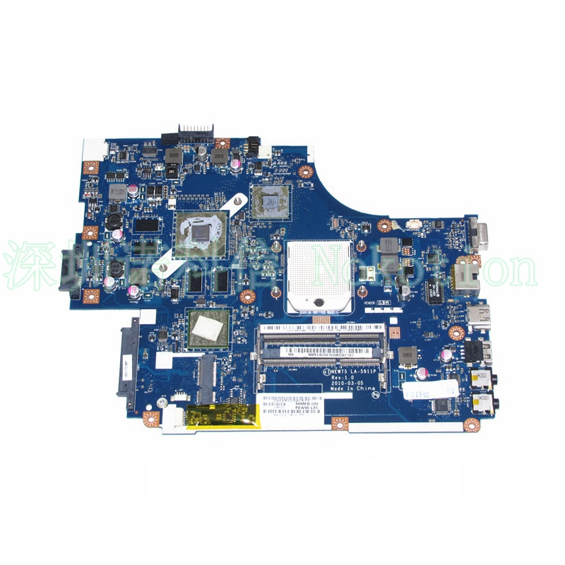 NOKOTION NEW75 LA-5911P LAPTOP MOTHERBOARD for ACER ASPIRE 5551 series NV53 series M880G Radeon DDR3 mbwm602001 works laptop motherboard for acer d255 d255e series pav70 la 6421p mbsdh02002 mb sdh02 002 ddr3